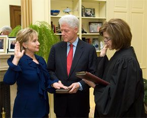 Hillary Clinton takes oath-of-office as United States Secretary of State. Bill Clinton also pictured.