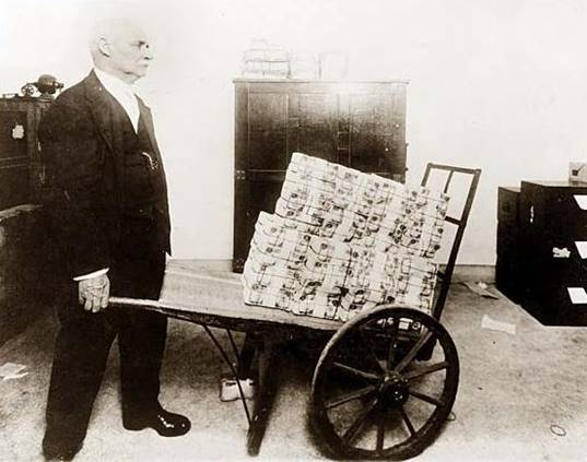 Wheelbarrow of money in 1920s Germany