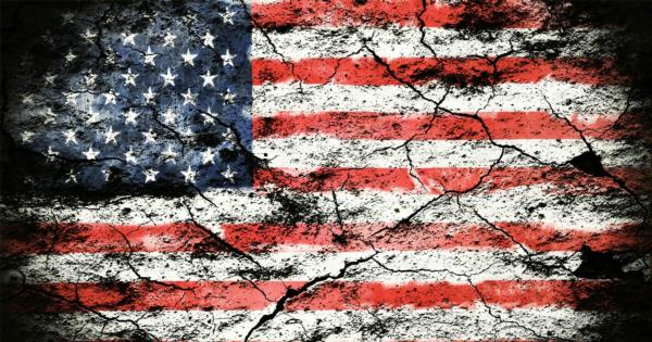US flag crumbling and decaying