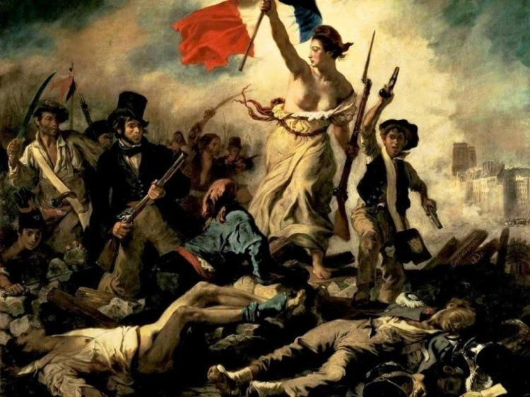 """La Liberté guidant le Peuple"" (Liberty guiding the People), by Eugène Delacroix, shows revo-lutionaries storming the citadels in 1789, bringing down the old aristocratic French regime."