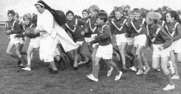 Sister Julian, AKA Denise Bacuriski, who coached the 1969 Year 5 St Augustine's school team made up of almost every boy in the class of over 50 children