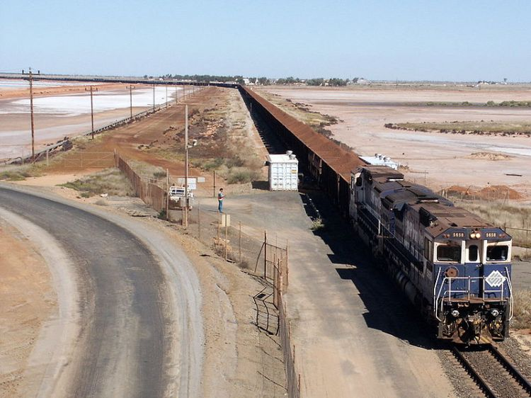 BHPIO iron ore train arriving at Port Hedland, Western Australia
